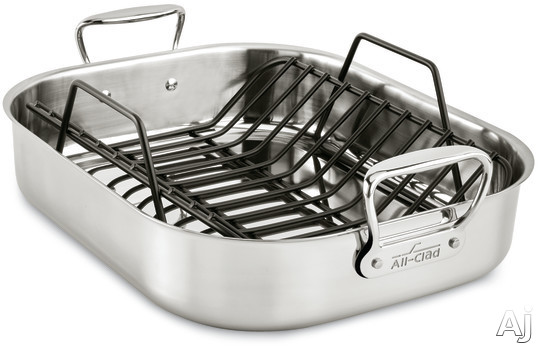 All Clad E752C264 13x16 Inch Large Roasting Pan with Roasting Rack, Oven Safe, Polished Stainless Steel, Stainless Steel Handles, Dishwasher Safe and Limited Lifetime Warranty