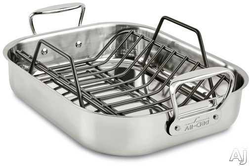 All Clad E752S264 Small Roasting Pan with Roasting Rack, Oven Safe, Polished Stainless Steel, Stainless Steel Handles, Dishwasher Safe and Limited Lifetime Warranty