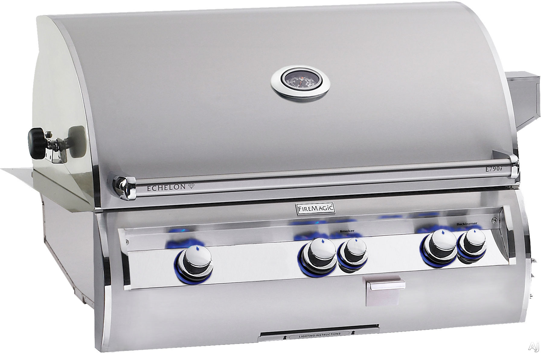 Fire Magic Echelon Collection E790I4AAP 36 Inch Built-in Gas Grill with 792 sq. in. Cooking Surface, 99,000 BTU Primary Burners, 13,000 BTU Back Burner, Charcoal and Smoker Basket: Propane, All Infrar