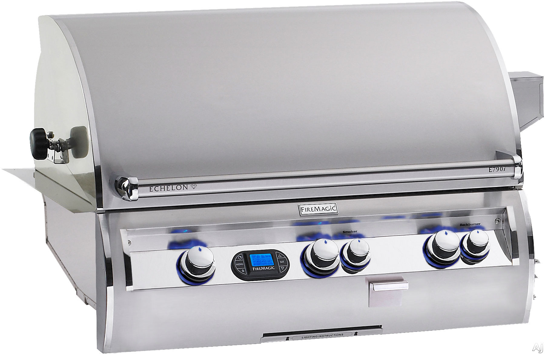 Fire Magic Echelon Collection E790I4LANW 36 Inch Built-in Gas Grill with 792 sq. in. Cooking Surface, 99,000 BTU Primary Burners, 13,000 BTU Back Burner, Charcoal and Smoker Basket: Nat.Gas, 1 Infrare