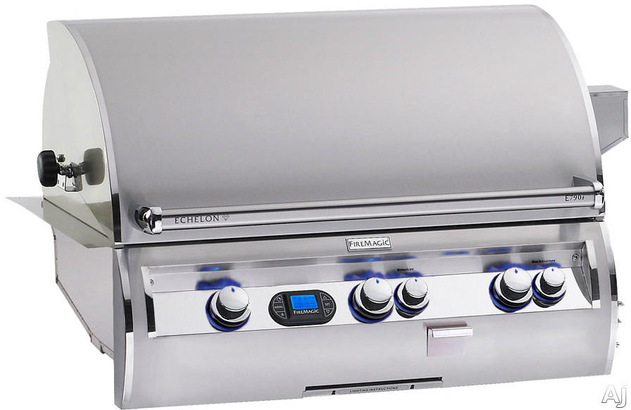 "Fire Magic Echelon Collection E790I4E1P 37"" Built-in Gas Grill with 792 sq. in. Cooking Surface, 99,000 Main Burner BTUs, Wood Chip Smoker, Back Lit Safety Knobs and Digital Thermometer: Liquid Propane"
