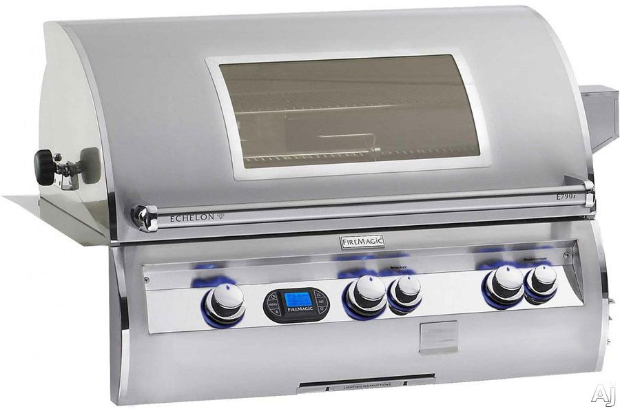"Fire Magic Echelon Collection E790I4E1PW 37"" Built-in Gas Grill with 792 sq. in. Cooking Surface, 99,000 Main Burner BTUs, Wood Chip Smoker, Digital Thermometer and Viewing Window: Liquid Propane"