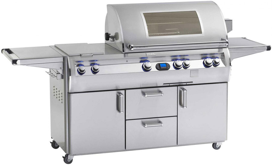 Fire Magic Echelon Collection E790S4L1N71W 92 Inch Freestanding Gas Grill with Infrared Burner, Wood Chip Smoker, Digital Thermometer, 792 sq. in. Cooking Surface and 30,000 BTU Double Side Burner: Na