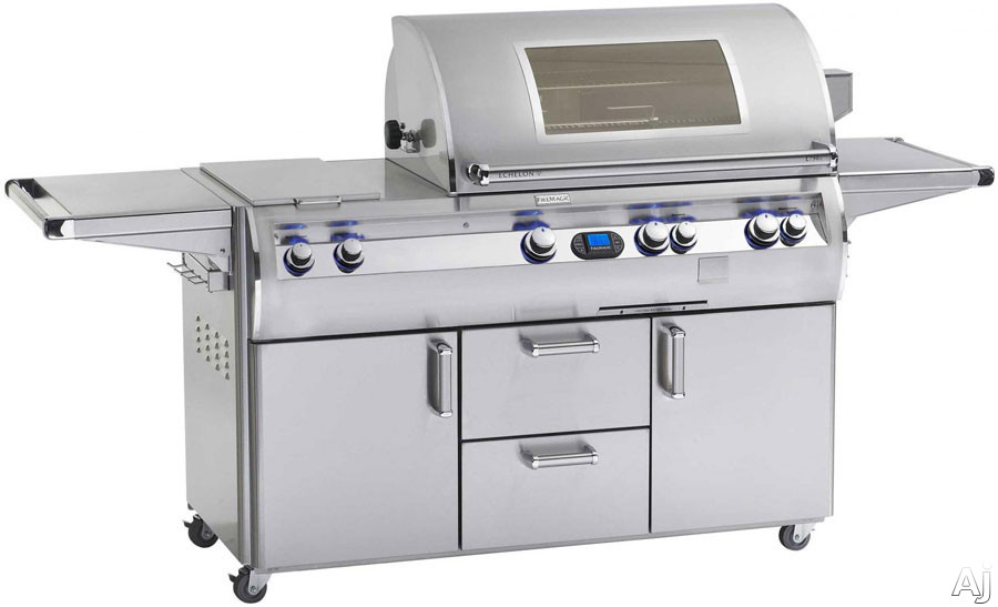 Fire Magic Echelon Collection E790S4L1P71W 92 Inch Freestanding Gas Grill with Infrared Burner, Wood Chip Smoker, Digital Thermometer, 792 sq. in. Cooking Surface and 30,000 BTU Double Side Burner: Li