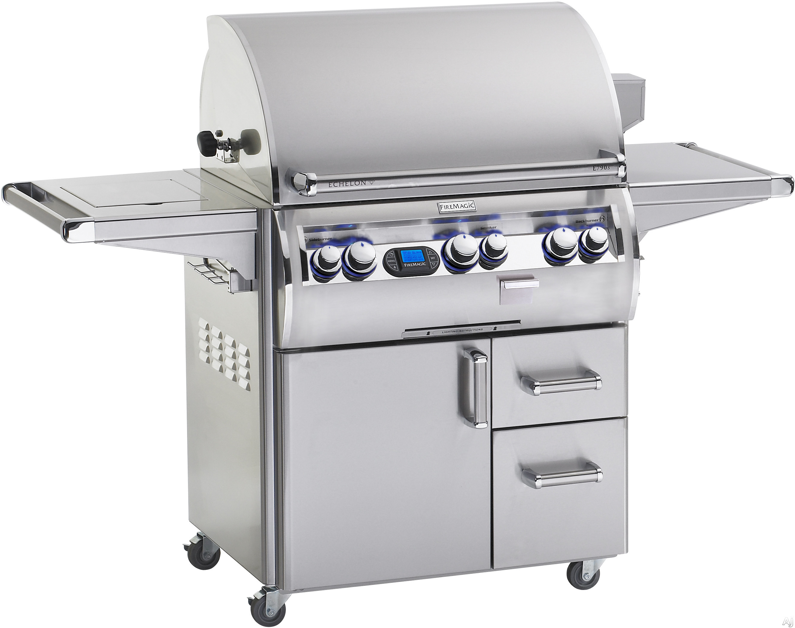 Fire Magic Echelon Collection E790S4EAN62W 92 Inch Freestanding Gas Grill with Rotisserie Kit, Analog Temperature, Gague Smoker, 792 sq. in. Cooking Surface, 99,000 BTU Stainless Steel Primary Burners, 13,000 Secondary Burners, 15,000 BTU Single Side Bur