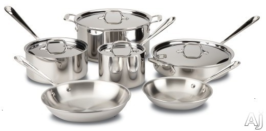 Image of All Clad 401488R 10-Piece Stainless Steel Cookware Set with 3-Ply Stainless Steel, Polished Surface, Stainless Steel Handles, Induction Suitable, Oven Safe, Dishwasher Safe, Limited Lifetime Warranty and Made in USA