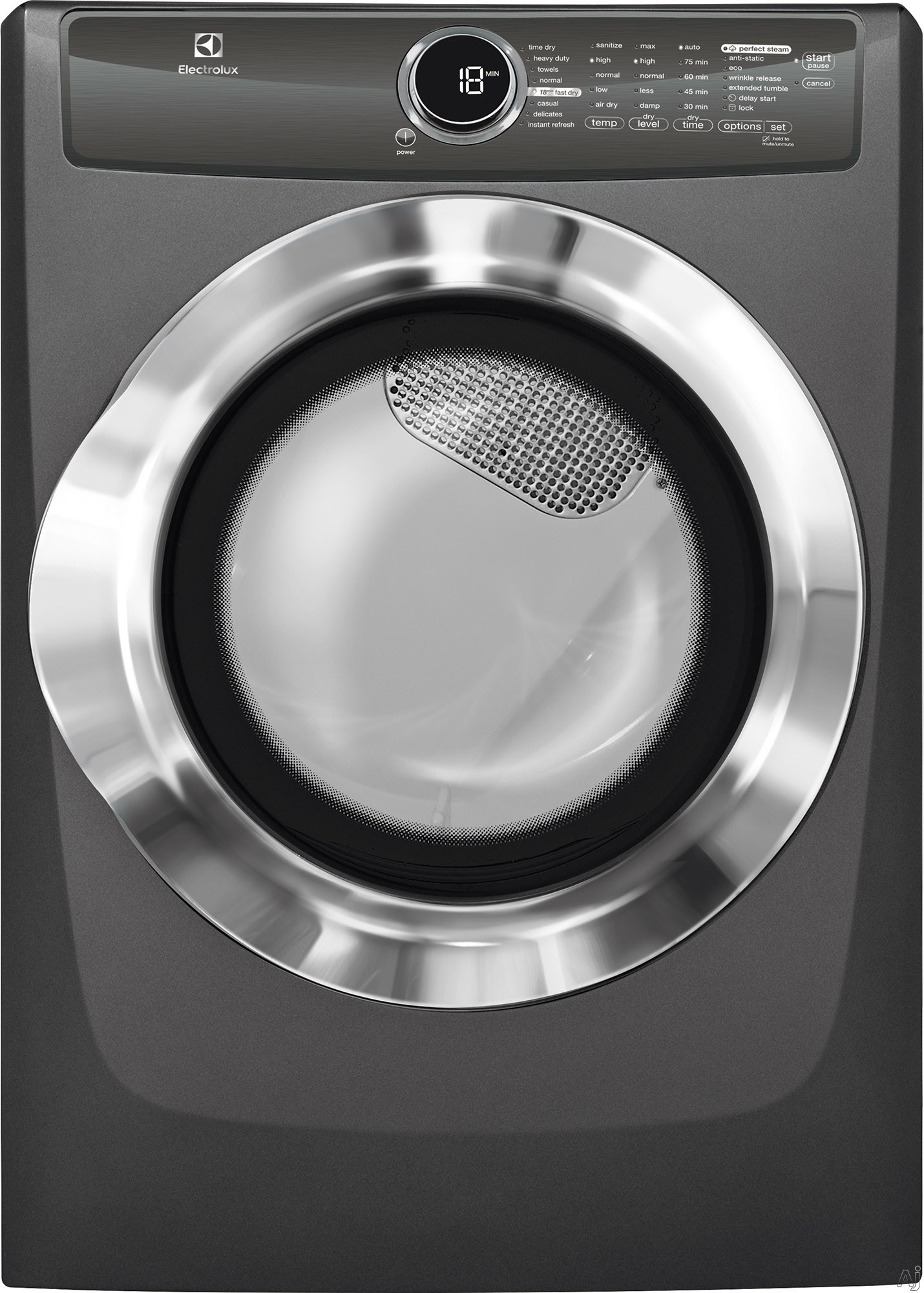 Electrolux EFME617SX 27 Inch 8.0 cu. ft. Electric Dryer with Moisture Sensor, Perfect Steam™, Instant Refresh, 9 Dry Cycles, 15 Min Fast Dry, Allergen Cycle, Extended Tumble, Luxury-Quiet Sound System and ENERGY STAR® Rated