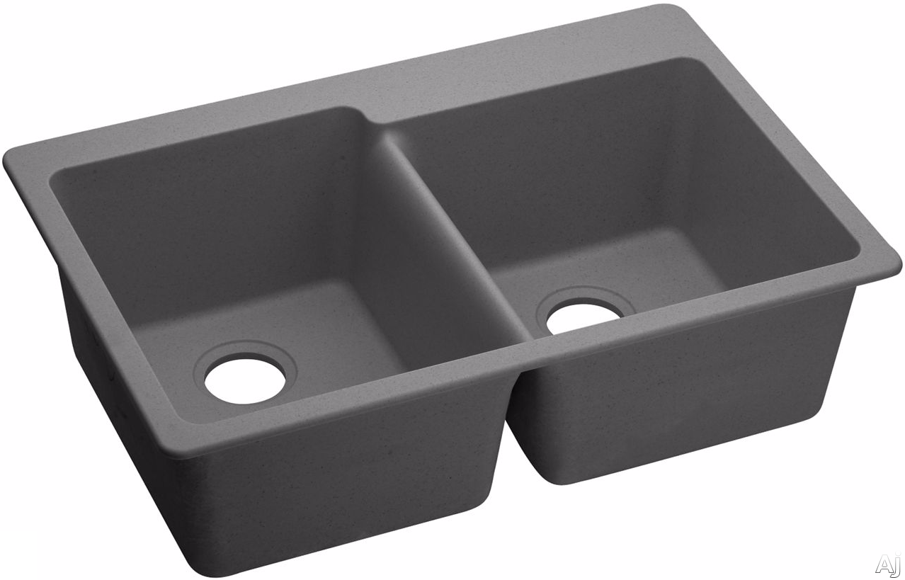 Elkay Gourmet E-Granite Collection ELG250RGS0 33 Inch Drop-In Double Bowl Sink with E-Granite Construction, 9 1/2 Inch Bowl Depth, 3 1/2 Inch Drain Size and CSA B45.5/IAPMO Z124 Compliance: Greystone