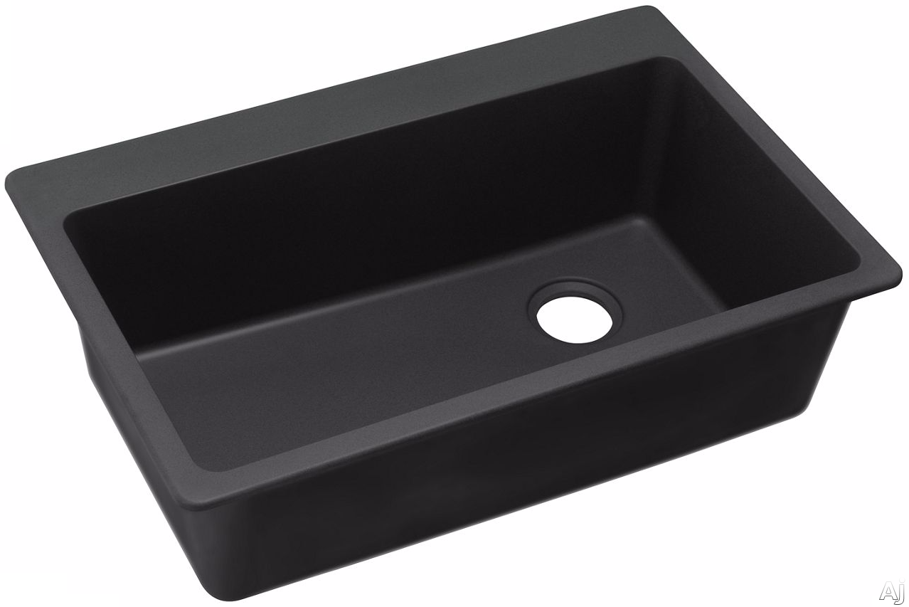 Elkay Gourmet E-Granite Collection ELG13322BK0 33 Inch Drop-In Sink with E-Granite Construction, 9 1/2 Inch Sink Depth, 3 1/2 Inch Drain Size and CSA B45.5/IAPMO Z124 Compliance: Black