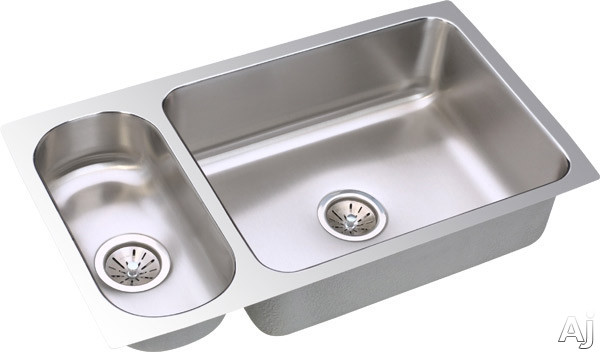 Elkay Lustertone Collection ELUH3219 32 Inch Undermount Double Bowl Stainless Steel Sink with 18-Gauge, 7-3/4 Inch Large Bowl Depth, 5 Inch Small Bowl Depth and Reversible Design