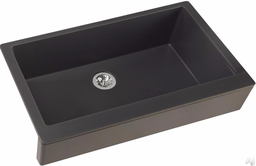 Elkay Quartz Luxe ELXUFP3620CH0 36 Inch Quartz Luxe Farmhouse Kitchen Sink with Perfect Drain, Superior Strength and Farmhouse Design: Charcoal