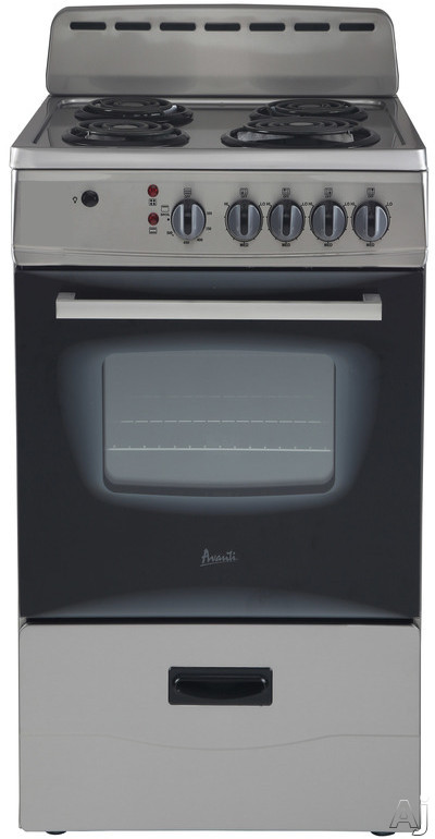 Avanti ER20P3SG 20 Inch Freestanding Electric Range with 4 Coil Burners, 2.1 Cu. Ft. Oven Capacity, Waist High Broiling, Leveling Legs, Deluxe See-Thru Glass Door, Backsplash and Storage Drawer