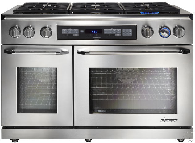 Dacor Renaissance ER48DSCHNG 48 Inch Freestanding Dual-Fuel Range with 4.6 cu. ft. Primary Oven Capacity, 3,500 W Broil Element, 6 Sealed Burners, 18,000 BTU, Digital Temperature Probe, and Pure Convection System: Stainless Steel, Natural Gas