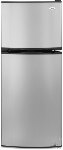 Whirlpool ET0MSRXTL 9.7 cu. ft. Top-Freezer Refrigerator with 2 Glass Shelves, Clear Humidity-Controlled Crisper and Reversible Door Swing: Satina Stainless Loo