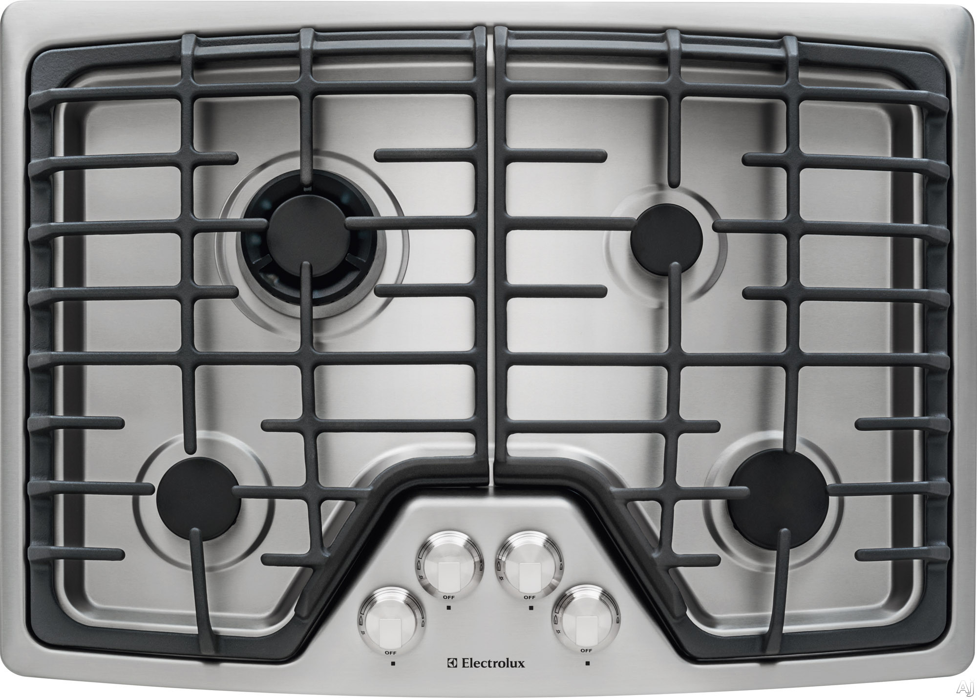 Electrolux EW30GC55PS 30 Inch Gas Cooktop with 4 Sealed Burners, Min-2-Max Dual-Flame Sealed Burner, Professional-Grade Control Knobs, Continuous Cast Iron Grates, ADA Compliant Design and Electric Pilotless Ignition: Stainless Steel
