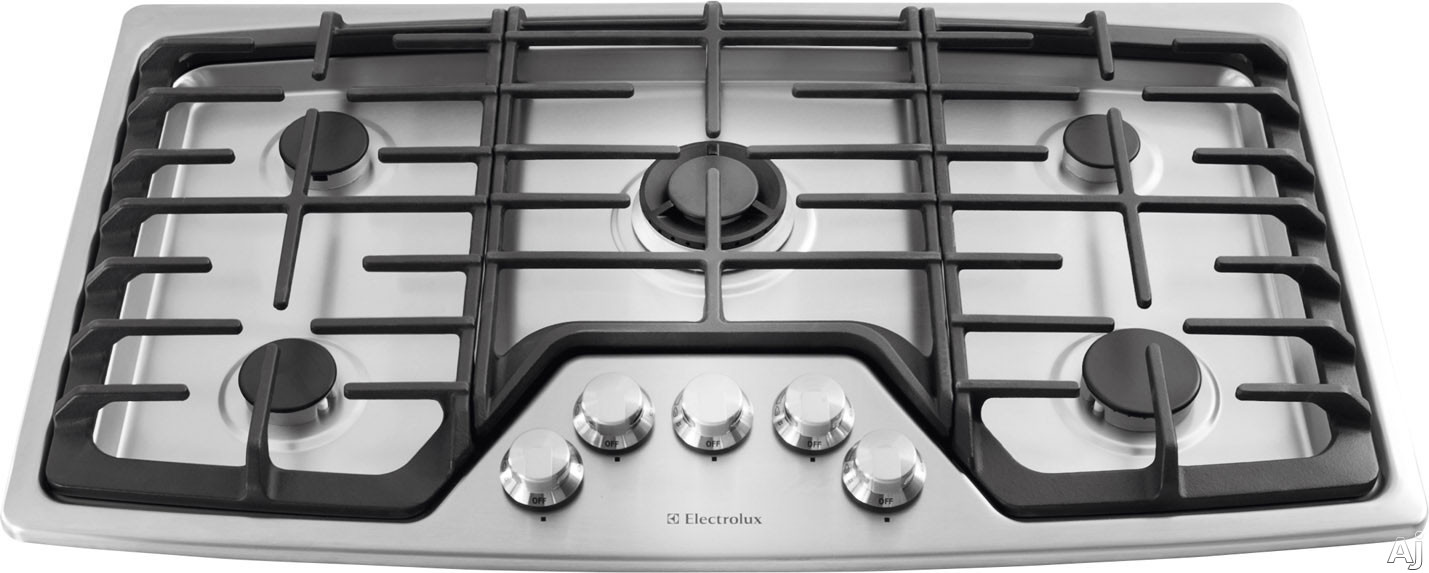 Electrolux EW36GC55PS 36 Inch Gas Cooktop with 5 Sealed Burners, Professional-Grade Control Knobs, Min-2-Max Dual-Flame Sealed Burner, Continuous Cast Iron Grates, ADA Compliant Design and Electric Pilotless Ignition: Stainless Steel