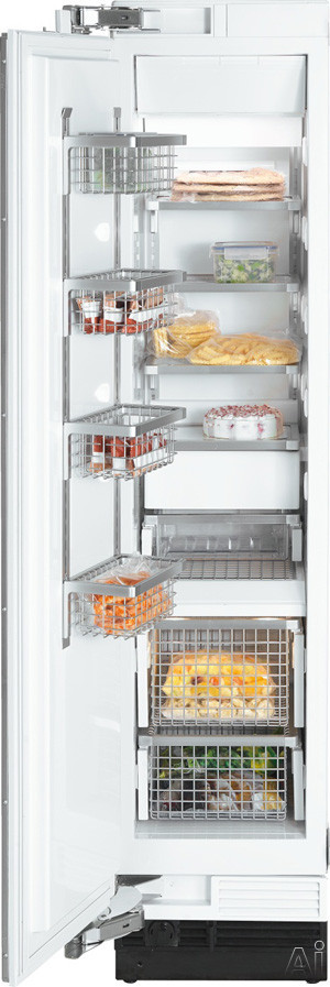 Miele MasterCool Series F1413 18 Inch Built-In Freezer Column with 8.0 cu. ft. Capacity, 4 Glass Shelves, 4 Wire Door Bins, 2 Wire Baskets, FullView Storage Drawers, RapidCool Loading Function and Ice Maker