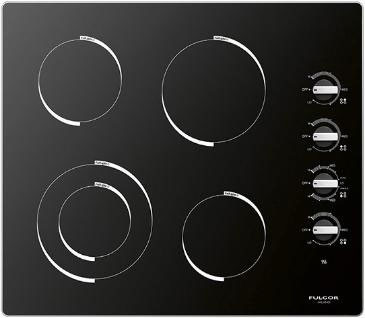 Fulgor Milano 300 Series F3RK24 24 Inch Smoothtop Electric Cooktop with 4 FulLight Radiant Elements Hot Surface Indicator Residual Heat Indicator and 4 Knobs For Power Level Setting