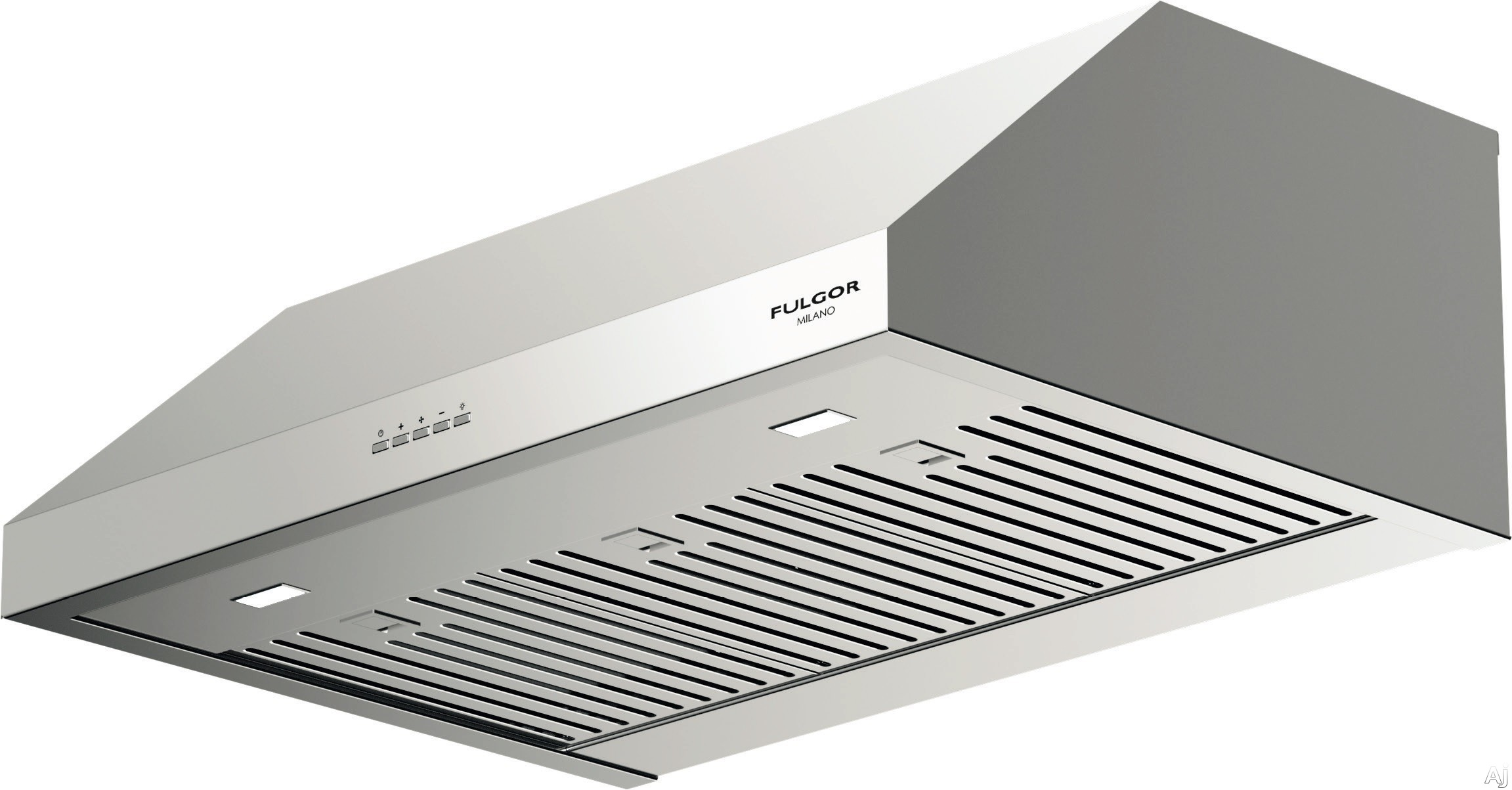 Fulgor Milano F4UC30S1 30 Inch Under Cabinet Hood with 450 CFM Internal Blower Stainless Steel Baffle Filters Mechanical Controls 4 Speed Blower Fan LED Lighting and Recirculating Options
