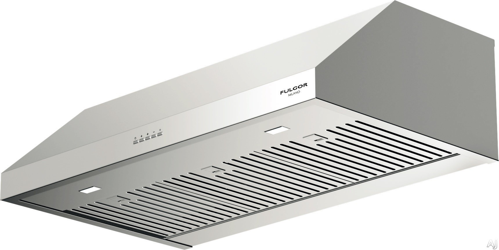 Fulgor Milano F4UC36S1 36 Inch Under Cabinet Hood with 450 CFM Internal Blower Stainless Steel Baffle Filters Mechanical Controls 4 Speed Blower Fan LED Lighting and Recirculating Options
