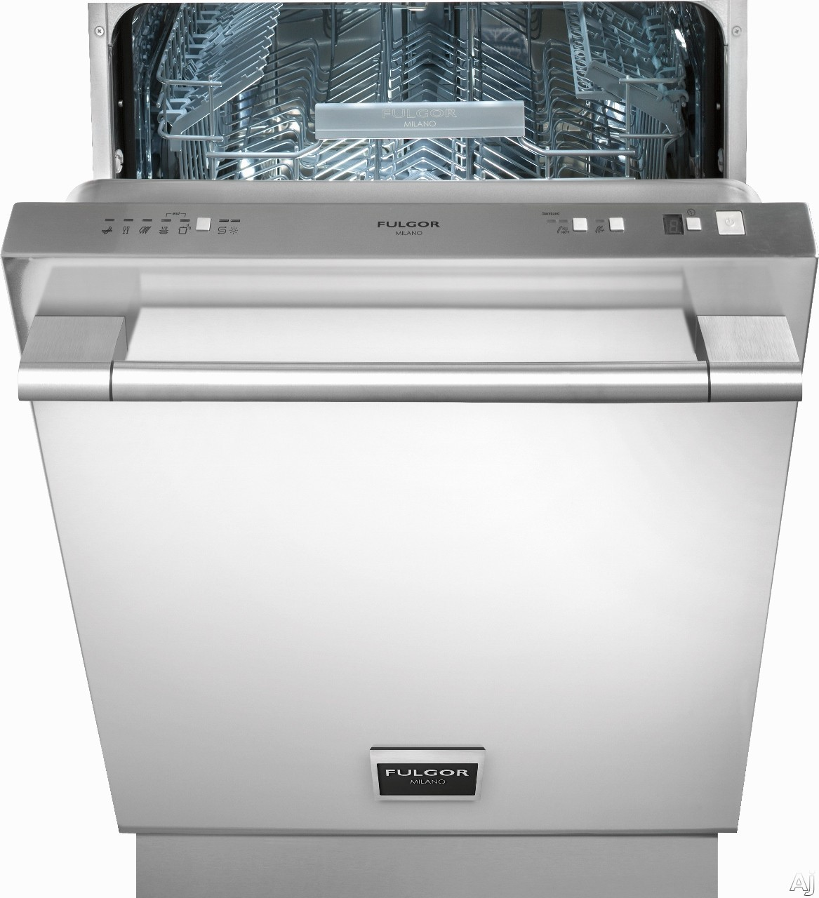 Picture of Fulgor Milano F6DW24 Fully Integrated Dishwasher with 9 Wash Cycles 13 Place Setting Capacity Stainless Steel Tall Tub Adjustable Upper Rack 9-Hour Delay Timer Turbidity Sensor AquaStop Leak Protection and Quiet Plus 50 dB Performance