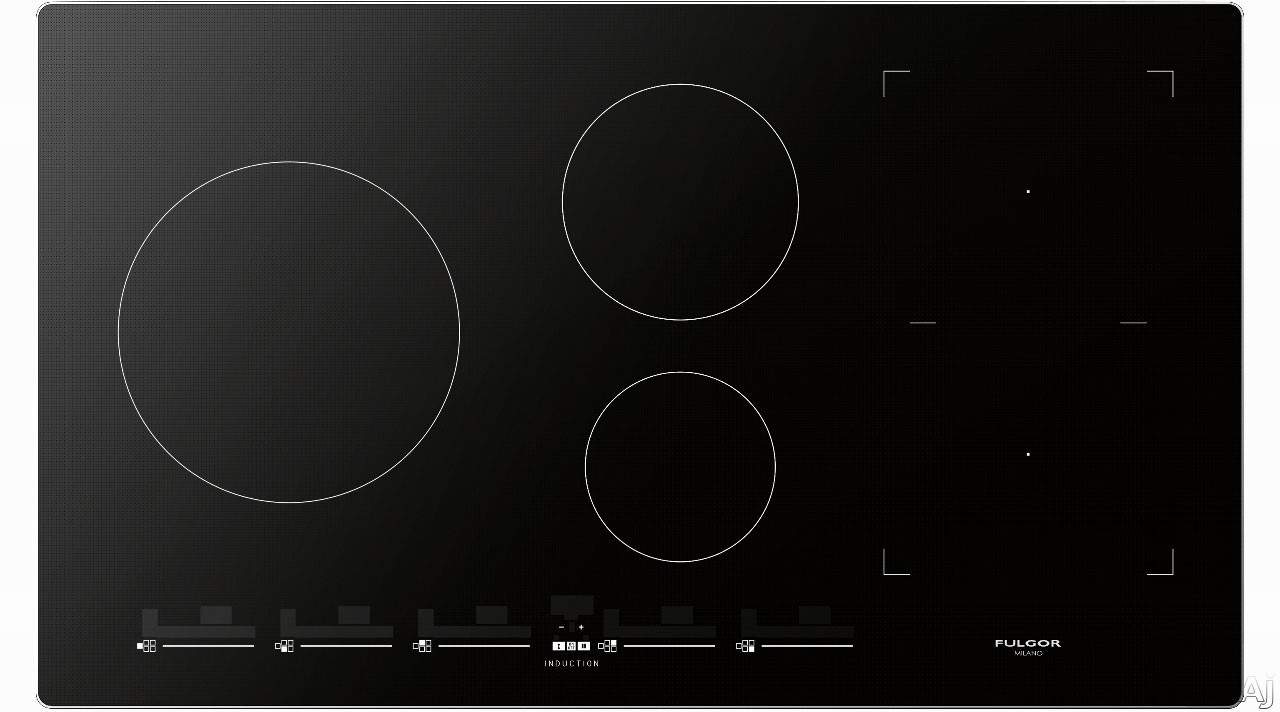Fulgor Milano 700 Series F7IT36S1 36 Inch Induction Cooktop with 5 Magnetic Burners, Slide Touch Controls, Bridge Element, Sleek Frame, Low Temperature Function, Warming Function, Pot Detection System