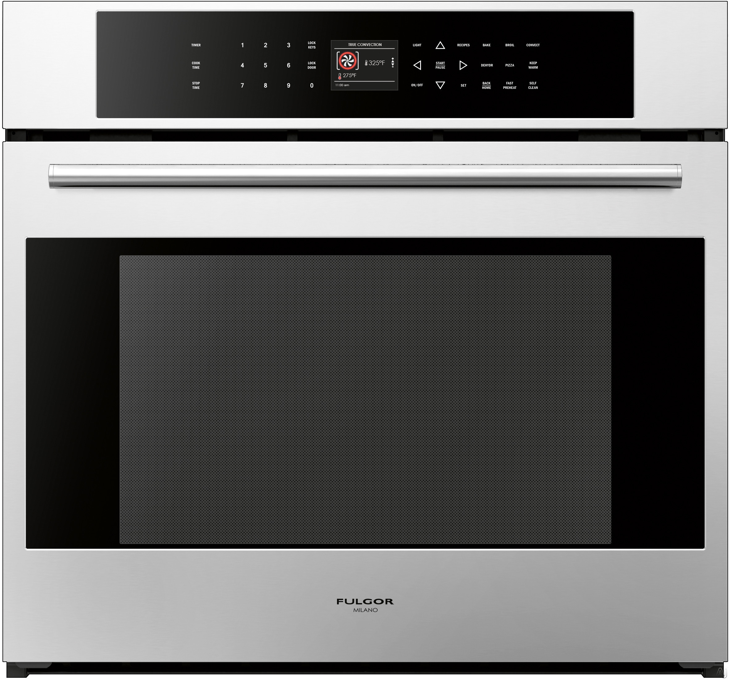 Fulgor Milano 700 Series F7SP30S1 30 Inch Single Electric Wall Oven with 4.4 cu. ft. Gross Capacity, Dual True Convection Cooking, Meat Probe, Telescopic Rack, Interior Halogen Lighting and Cool Touch