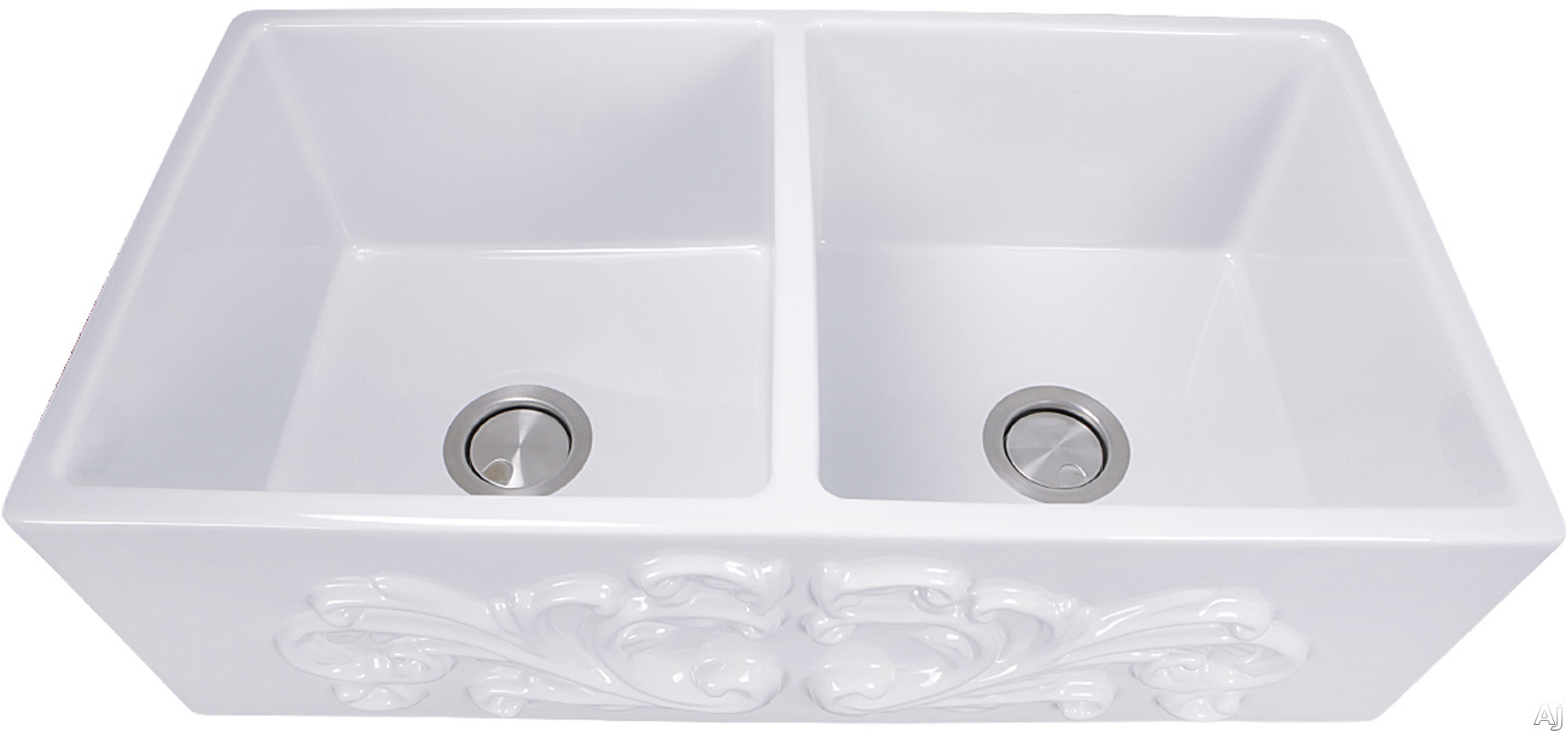 Nantucket Sinks Vineyard Collection FCFS3318DFILIGREE 33 Inch Double Bowl Farmhouse Fireclay Sink with Solid Fireclay Construction, Scratch Resistant and Filigree Apron