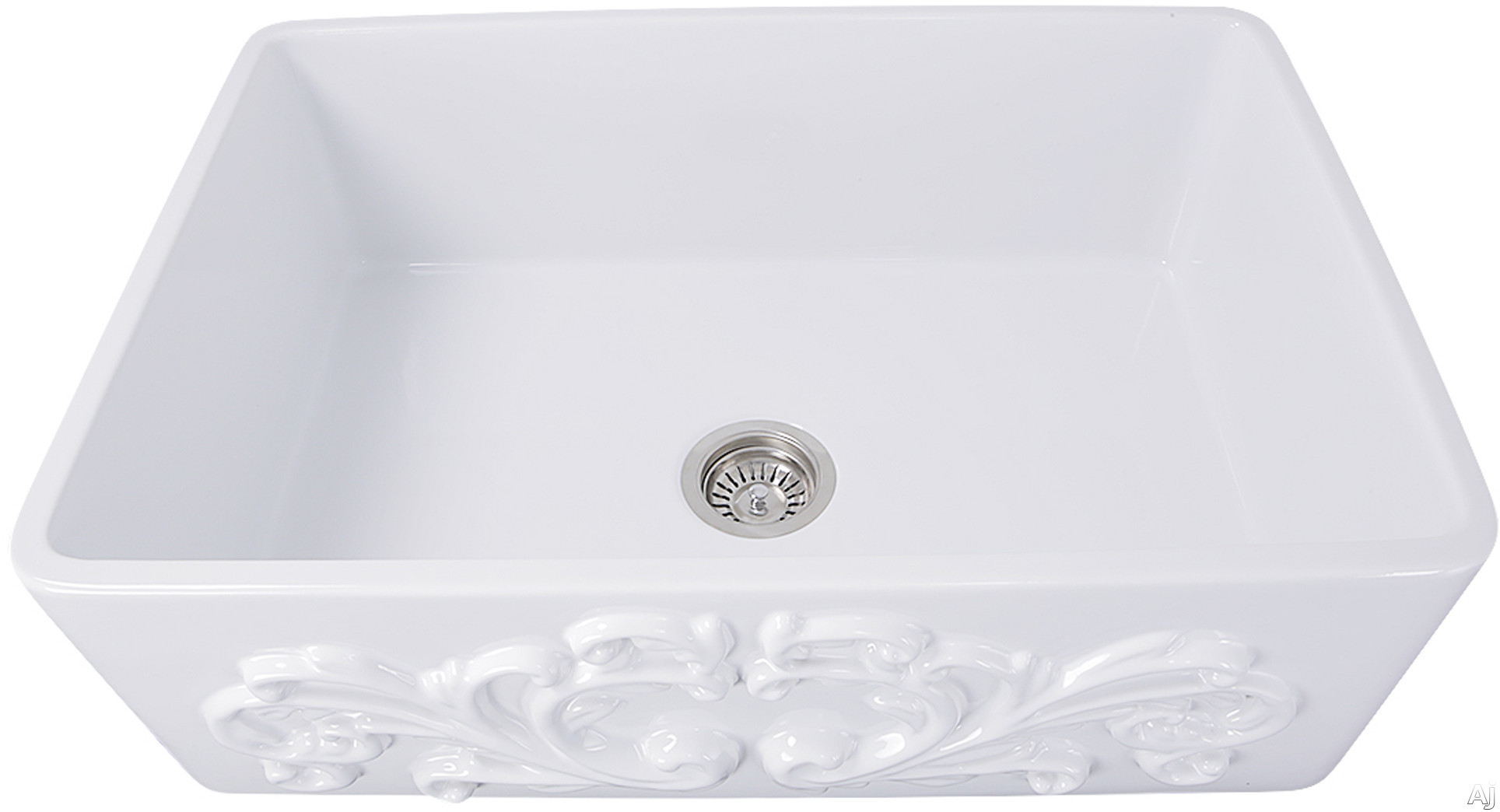 Nantucket Sinks Vineyard Collection FCFS3320SFILIGREE 33 Inch Single Bowl Farmhouse Fireclay Sink with Solid Fireclay Construction, Scratch Resistant and Filigree Apron