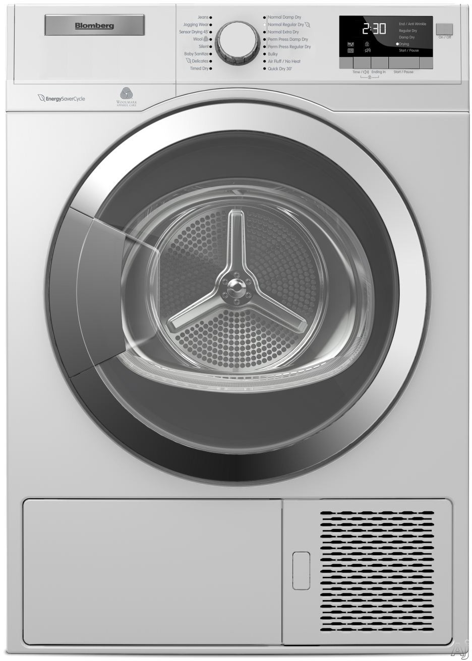 Blomberg DHP24412W 24 Inch 4.1 cu. ft. Ventless Electric Dryer with OptiSense Sensor Drying Anti Creasing Cycle Stacking Kit 16 Dry Cycles Aquawave Structured Stainless Steel Drum and ENERGY STAR
