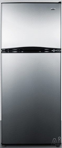 Summit FF1387SS 24 Inch Top-Freezer Refrigerator with 11.5 cu. ft. Capacity, Adjustable Glass Shelves, Gallon Door Storage, 2 Clear Crispers, Interior Light, Adjustable Thermostat and Energy Star Rated: Stainless Steel
