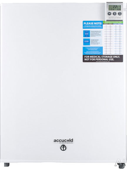 AccuCold FF28LWHVAC 2.4 cu. ft. Compact Medical All-Refrigerator with Adjustable Wire Shelf, Automatic Defrost, Adjustable Thermostat, Flat Door Liner and Factory Installed Lock: VAC Option