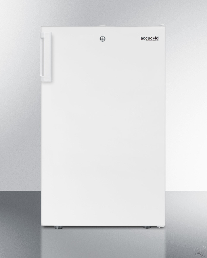 AccuCold FF511L7 19 Inch Undercounter Compact Refrigerator with Crisper Drawer, Reversible Door, Factory Installed Lock, Hospital Grade Cord, Flat Door Liner, Commercially Listed and 4.1 cu. ft. Capacity: White FF511L7