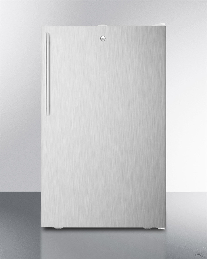 AccuCold FF511LBISSHV 19 Inch Undercounter Compact Refrigerator with Crisper Drawer, Adjustable Thermostat, Factory Installed Lock, Automatic Defrost, Adjustable Shelves, Interior Light, Flat Door Liner, CFC Free and 4.1 cu. ft. Capacity: Stainless Steel