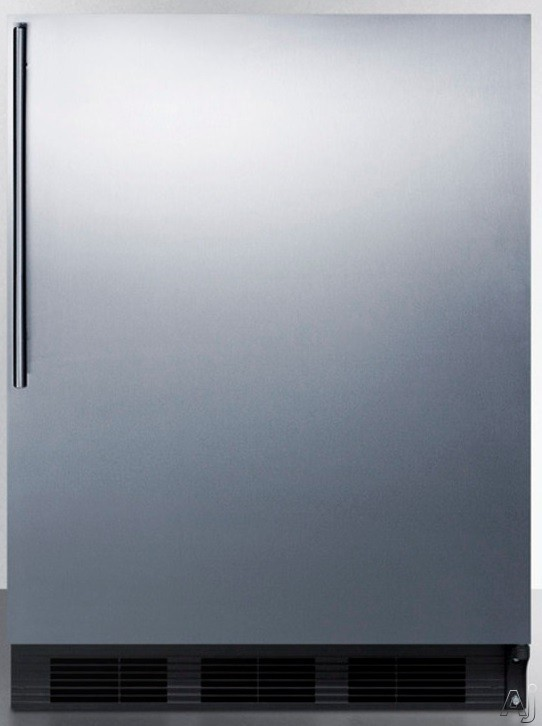 AccuCold FF6BBISSHVADA 24 Inch Built-in Compact Refrigerator with 5.5 cu. ft. Capacity, Adjustable Glass Shelves, Automatic Defrost and ADA Compliant: Stainless Steel Door with Thin Handle