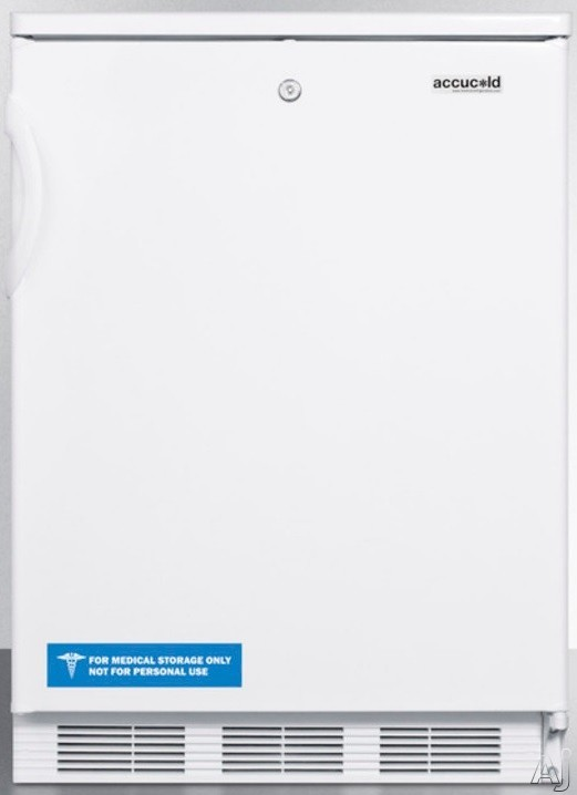 AccuCold FF6LX 5.5 cu. ft. Compact Refrigerator with Adjustable Glass Shelves, Door Storage, Fruit/Vegetable Crisper, Interior Light and Door Lock