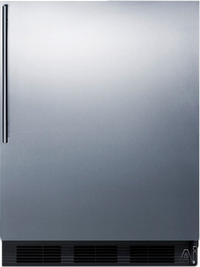 AccuCold FF7BSSHV 5.5 cu. ft. Compact Refrigerator with Adjustable Glass Shelves, Deep Shelf Space, Interior Light, Hidden Evaporator and Commercially Approved: Stainless Door with Vertical Thin Handle
