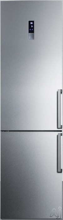 Summit FFBF191SSLHD 24 Inch Counter Depth Bottom-Freezer Refrigerator with Frost-Free Operation, ENERGY STAR, Digital Thermostat, Adjustable Glass Shelving, 13.3 cu. ft. Capacity, 2 Pull-Out Storage Drawers, 4 Door Bins and LED Lighting: No Ice Maker, Left Hinge