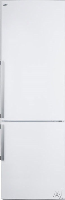 Summit FFBF240W1 24 Inch Counter Depth Bottom-Freezer Refrigerator with 9.85 cu. ft. Capacity, 3 Adjustable Glass Shelves, 2 Crispers, 4 Door Bins, 2 Tilt-Out Freezer Bins, 1 Drop-Down Compartment, LED Lighting and Energy Star Rated