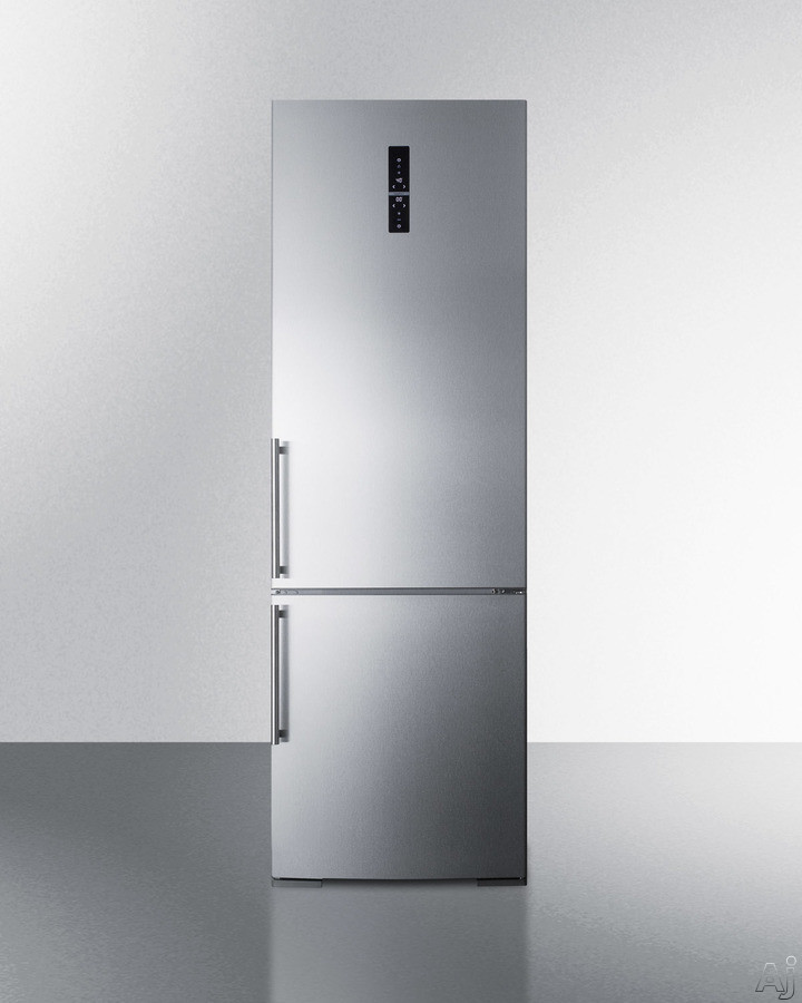 Summit FFBF249SSBIX 24 Inch Built-In Bottom Freezer Refrigerator with ZeroZone Drawer, Intensive Cooling and Freezing Functions, Adjustable Glass Shelves, Wine Shelf, Humidity-Controlled Crisper, Fixed Bottle Door Rack, Digital Controls and 11.6 cu ft. Ca