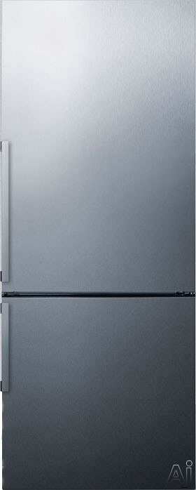 Summit FFBF286SS 28 Inch Bottom Freezer Refrigerator with 16.8 cu. ft. Capacity, Adjustable Glass Shelves, Wine Rack, Adjustable Door Bins, Produce Drawer, 3 Freezer Drawers, Digital Thermostat, ADA Compliant and ENERGY STAR Certified: Right Hinge Door Swing, No Ice Maker