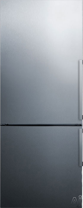 Summit FFBF286SSLHD 28 Inch Bottom Freezer Refrigerator with 16.8 cu. ft. Capacity, Adjustable Glass Shelves, Wine Rack, Adjustable Door Bins, Produce Drawer, 3 Freezer Drawers, Digital Thermostat, ADA Compliant and ENERGY STAR Certified: Left Hinge Door Swing, No Ice Maker