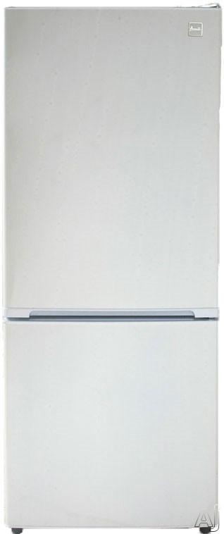 Avanti FFBM102D0W 10.2 cu. ft. Bottom Freezer Refrigerator with 2 Adjustable Glass Shelves, 1 Produce Drawer, 4 Door Bins, 1 Dairy Compartment, 1 Freezer Shelf, 1 Freezer Basket, Frost Free Operation and Energy Star Rating: White