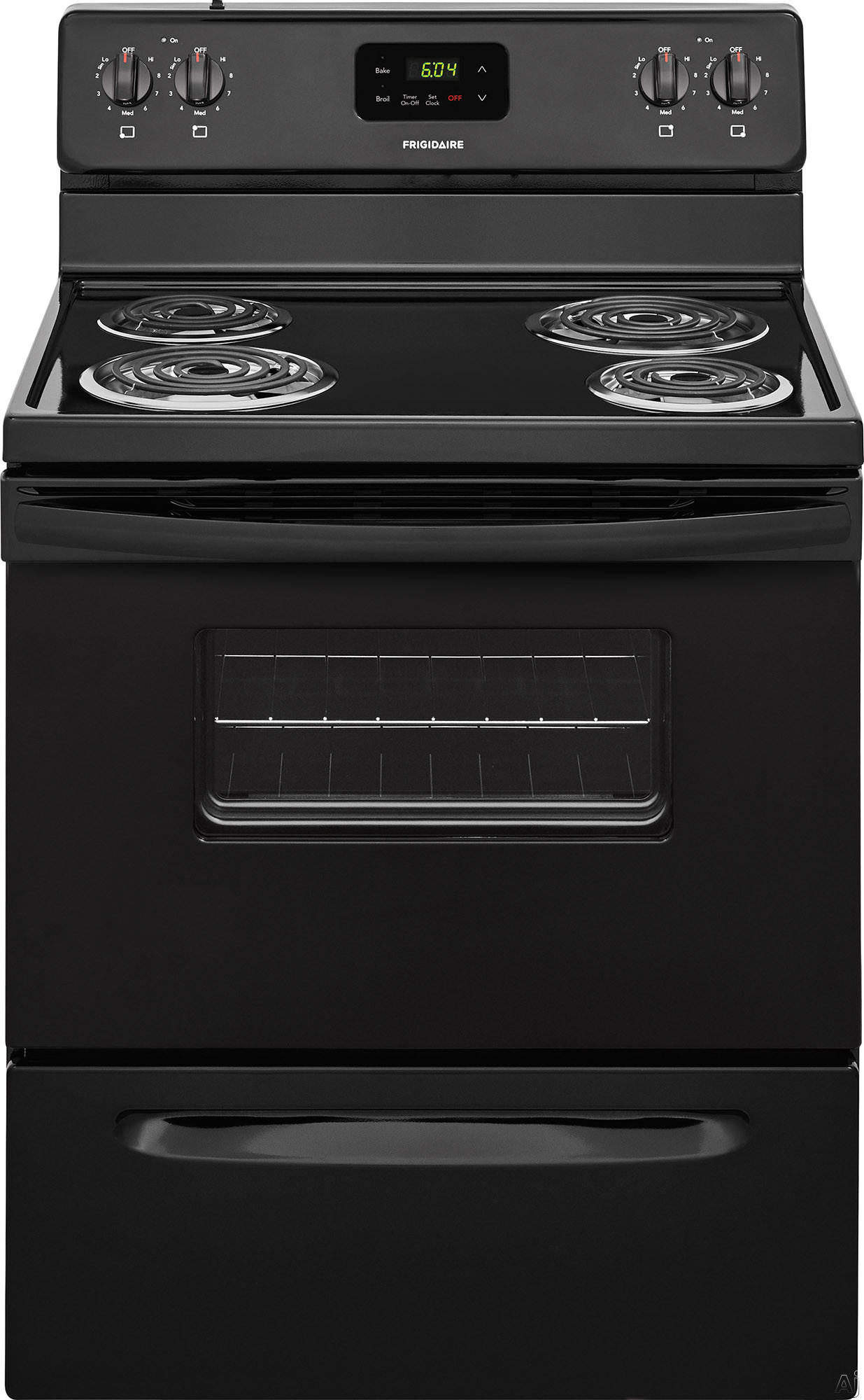 "Frigidaire FFEF3012TB 30 Inch Freestanding Electric Range with Hi-Lo Broil, Store-Moreâ""¢ Drawer, Electronic Timer, 4 Coil Burners and 4.8 cu. ft. Capacity: Black"
