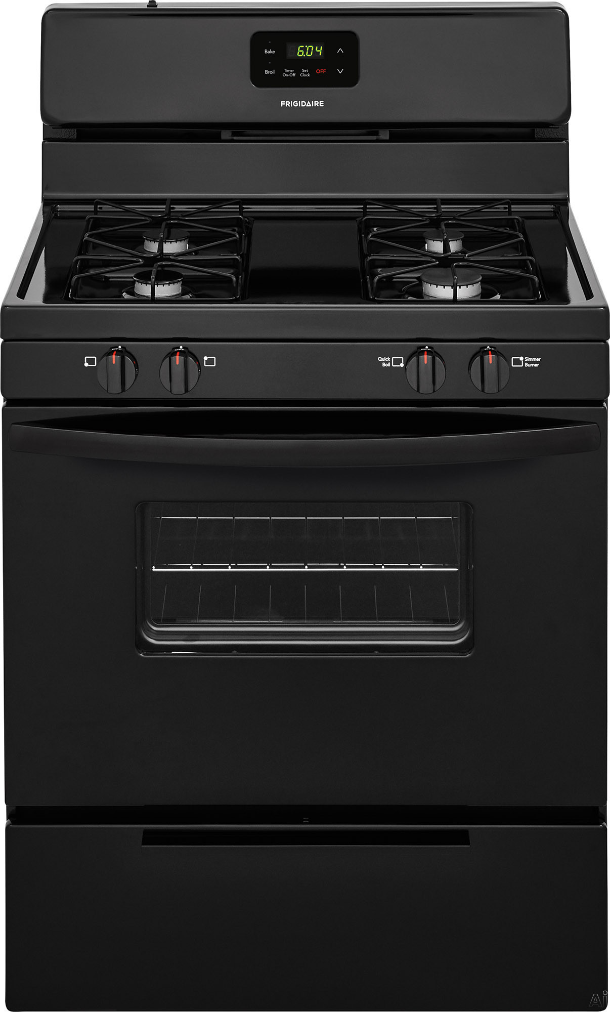 Frigidaire FFGF3016TB 30 Inch Freestanding Gas Range with Simmer Burner, Broiler Drawer, 4 Sealed Burners and 4.2 cu. ft. Capacity: Black