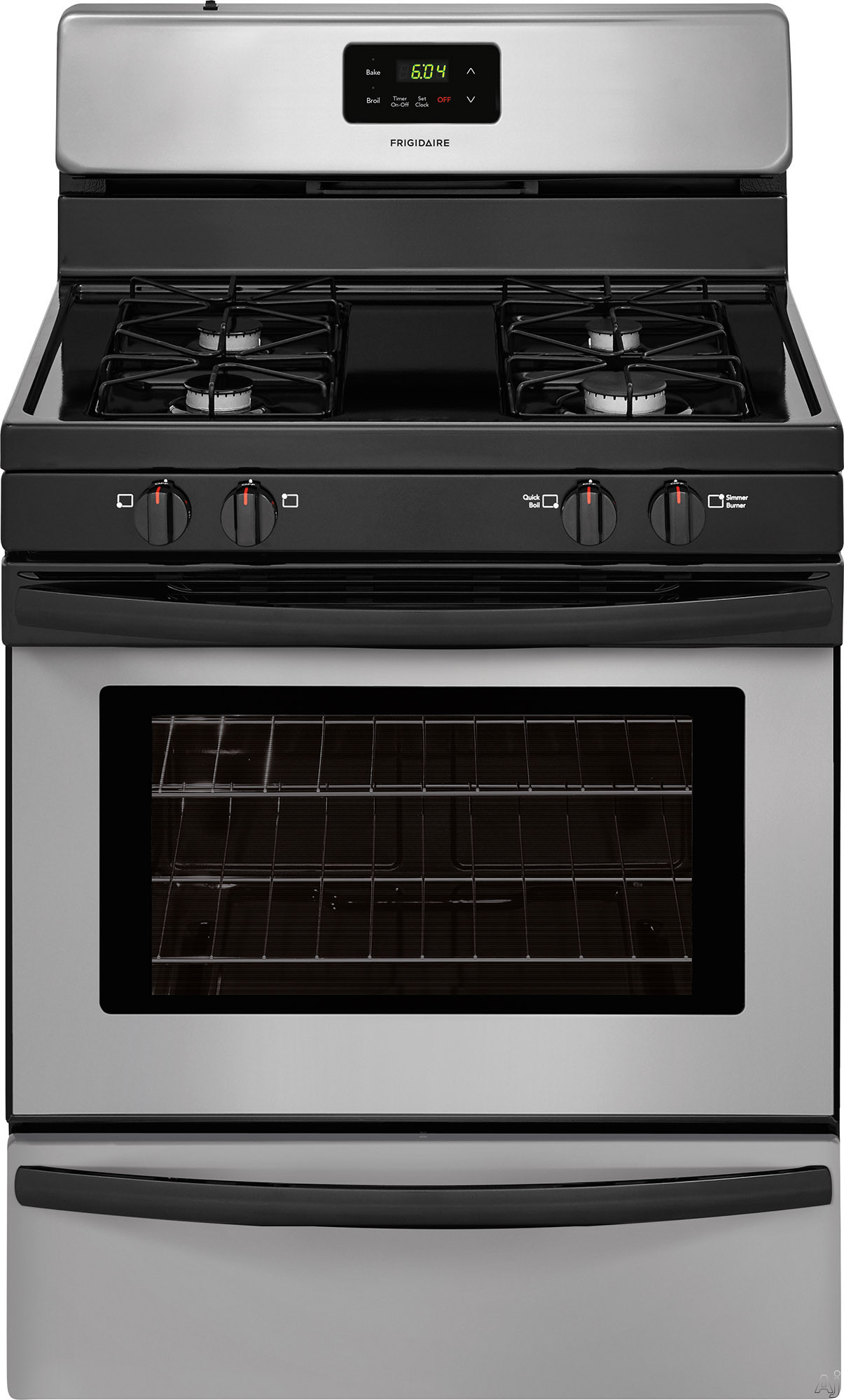 Frigidaire FFGF3016TM 30 Inch Freestanding Gas Range with Simmer Burner, Broiler Drawer, 4 Sealed Burners and 4.2 cu. ft. Capacity: Stainless Steel