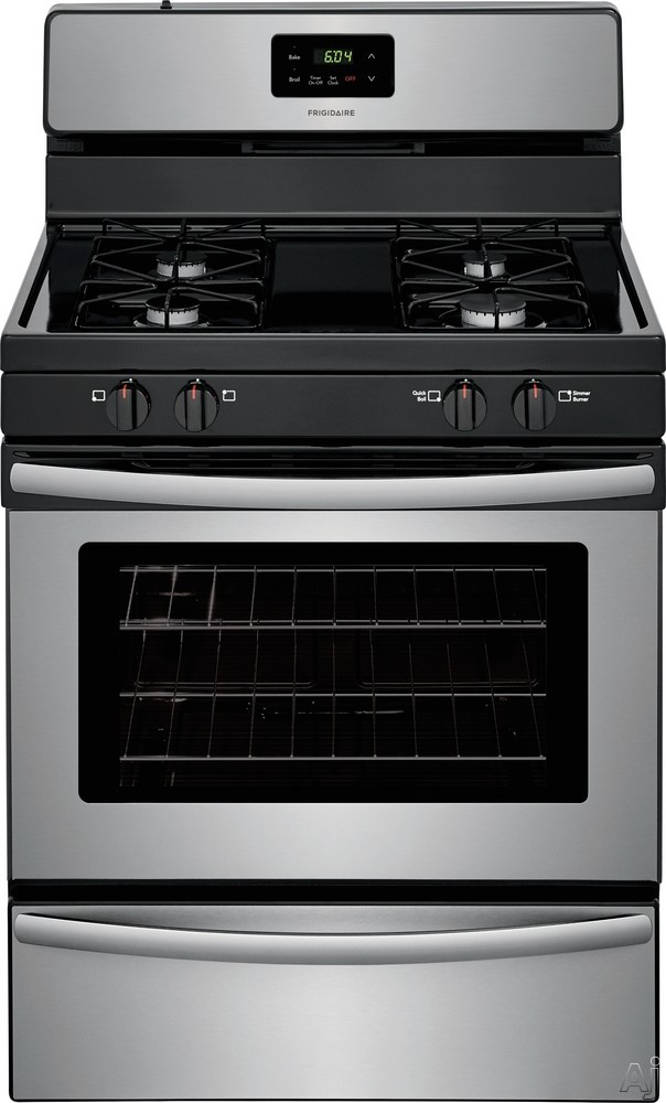 Frigidaire FFGF3016TS 30 Inch Freestanding Gas Range with Simmer Burner, Broiler Drawer, 4 Sealed Burners and 4.2 cu. ft. Capacity: Stainless Steel