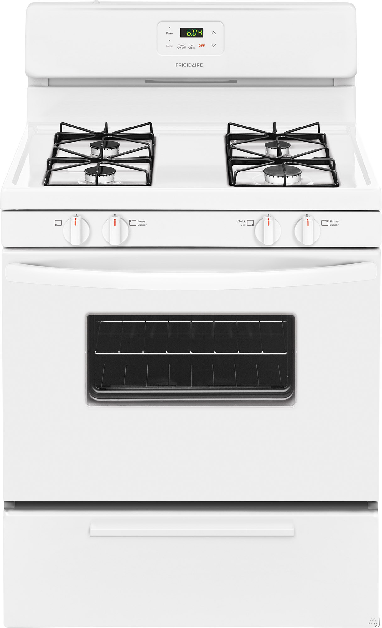 Frigidaire FFGF3016TW 30 Inch Freestanding Gas Range with Simmer Burner, Broiler Drawer, 4 Sealed Burners and 4.2 cu. ft. Capacity: White