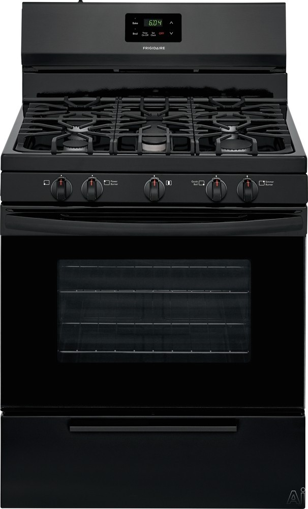 Frigidaire FFGF3052TB 30 Inch Freestanding Gas Range with Simmer Burner, Broiler Drawer, Quick Broil Burner, Contentious Grates, 5 Sealed Burners and 4.2 cu. ft. Capacity: Black