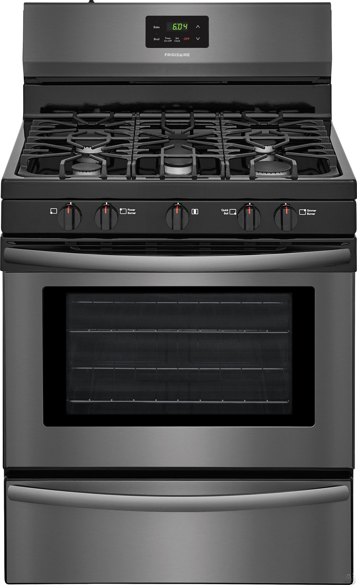Frigidaire FFGF3052TD 30 Inch Freestanding Gas Range with Simmer Burner, Broiler Drawer, Quick Broil Burner, Contentious Grates, 5 Sealed Burners and 4.2 cu. ft. Capacity: Black Stainless Steel